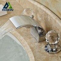 A Forma da Curva de alta Qualidade Bom Preço Bancada Mixer Torneira 3 Buracos Banheiro Torneiras de Água Acabamento Cromado
