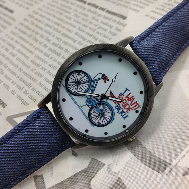 Vintage  men's watch Denim Bicycles Men And Women Students Couple Table Bike Letter Watch relogio masculino Hot women watches
