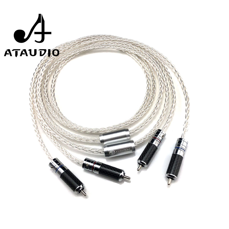 ATAUDIO 7N OCC Silver plated Hifi RCA Cable Hi end 2RCA Male to Male Audio Cable 1m 2m 3m    2