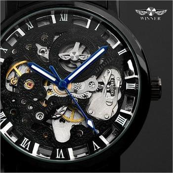 Winner Transparent Steampunk Montre Homme Black Retro Casual Mens Watches Top Brand Luxury Full Steel Skeleton Mechanical Watch 3