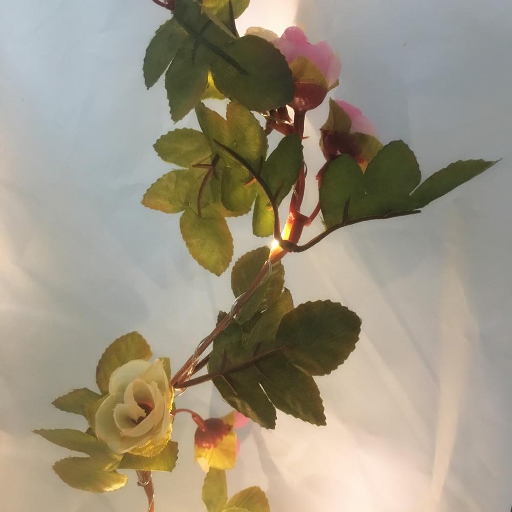 2.2M 25 LED różowy kwiat róży girlanda działa bateria Miedziana - Oświetlenie wakacje - Zdjęcie 3