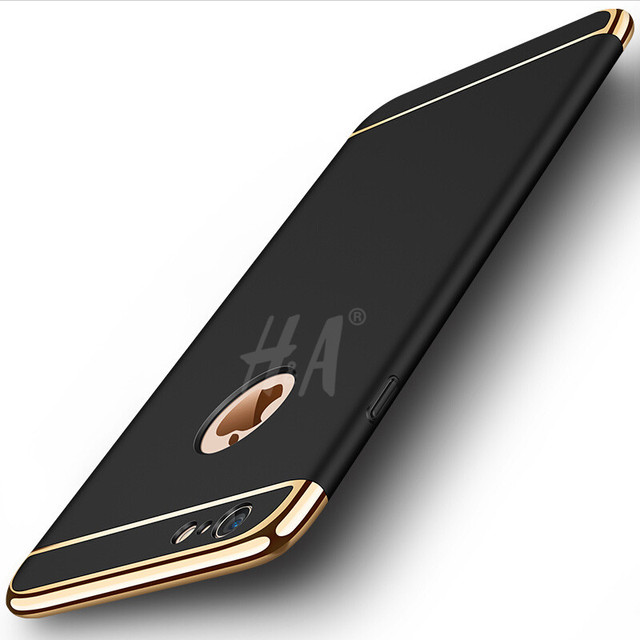 H&A Luxury Gold Hard Case For iphone 7 6 6S 5 5S SE Back Cover 3 in 1 Coverage Case For iphone 6 6s Plus 7 Plus cases