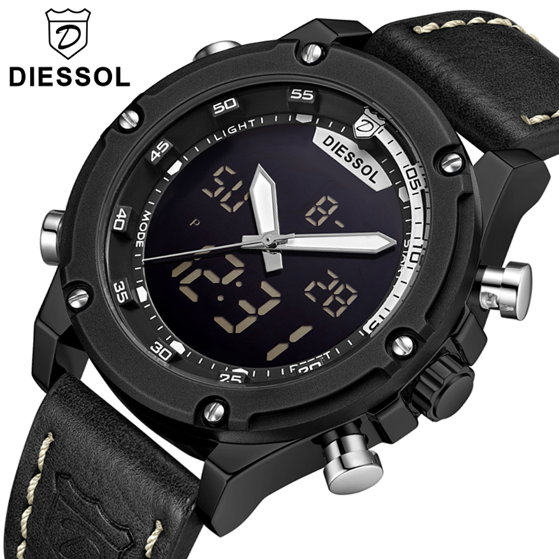 DIESSOL Luxury Brand Watch Men Watch Casual Leather Quartz Watch Men s LED Digital Clock Male