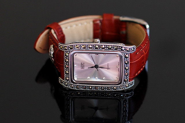 S925 Pure Silver Rectangle Watch Leather Band