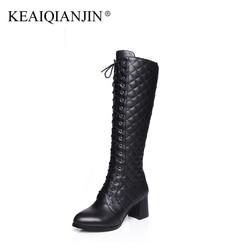 KEAIQIANJIN Femme Croix-attaché Genou Haute Bottes Noir Plus La Taille 33-41 Chaussures D'hiver En Peluche Fermeture Éclair Véritable Genou En Cuir de Haute bottes