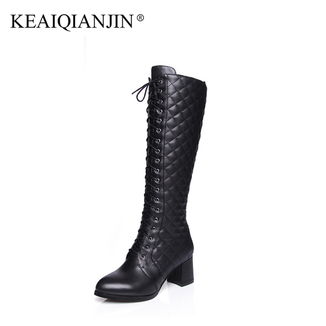 3c7ee985edf KEAIQIANJIN Woman Cross-tied Knee High Boots Black Plus Size 33 - 41 Winter  Shoes Plush Zipper Genuine Leather Knee High Boots