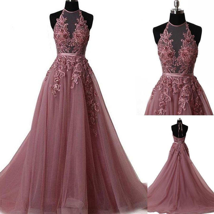 A line Prom Dresses Spaghetti Straps Applique Prom Dress Evening Dresses Halter Neckline Sheer Applique Evening