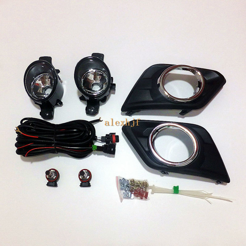 July King Car Fog Lamp Assembly Kit With Cover Case for Nissan X-Trail Rogue 2014-ON, Fog Lamp Blub + Cover + Harness + Switch july king 18w 6leds h11 led fog lamp assembly case for nissan x trail 2014 on rouge 2008 2011 2014 on 6500k 1260lm led drl