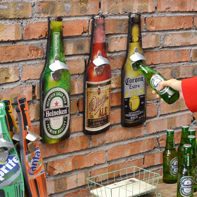 beer bottle opener vintage home decoration bar cafe restaurant wall mounted bottle opener multipurpose wooden plaque - Multi Cafe Decoration