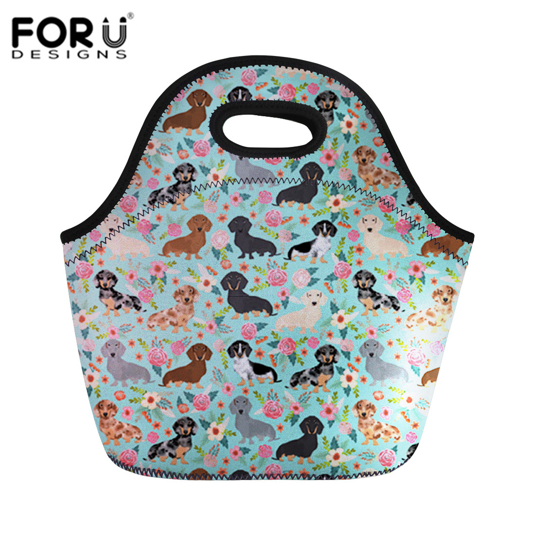 FORUDESIGNS Women Lunch Bags Handbags Kid Portable Neoprene Thermal Food Bag Animal Florals Pattern Lunch Box Bag Tote Pouch Sac