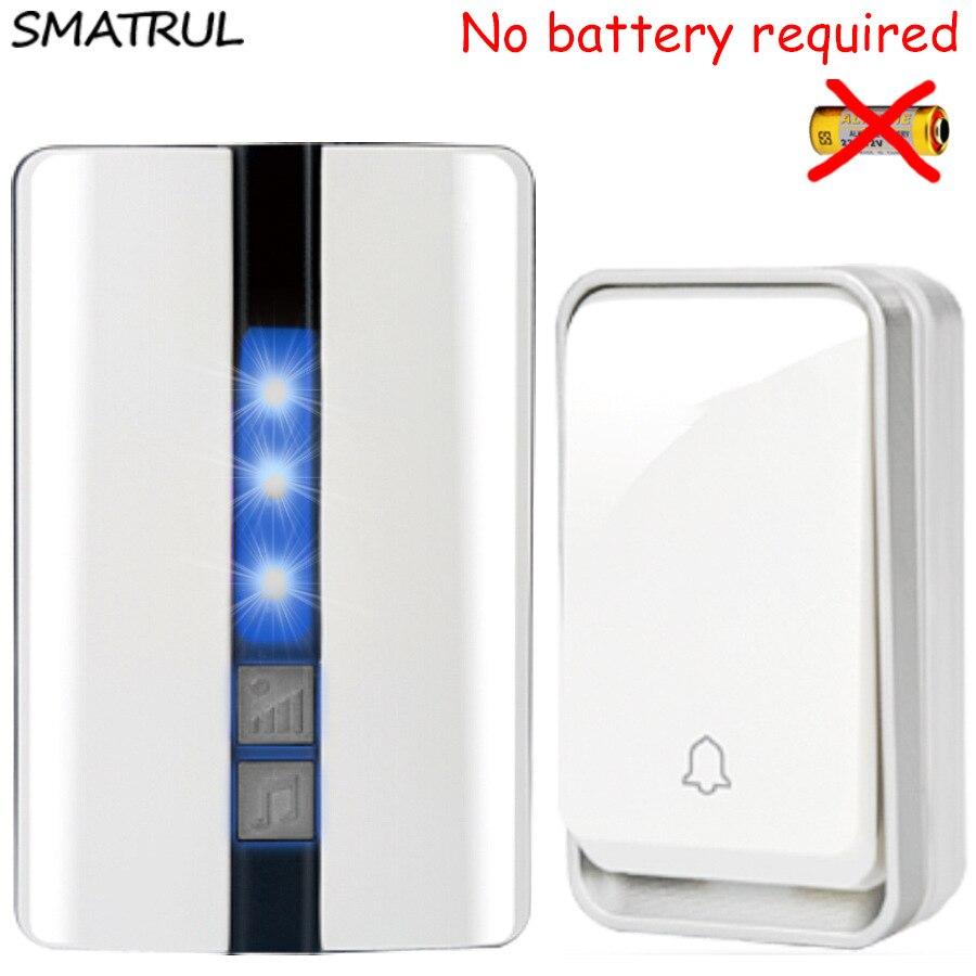 SMATRUL self powered Wasserdichte Funk-türklingel keine batterie eu-stecker smart Schnurlose Türklingel 1 taste 1 2 Empfänger 110DB sound