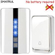 SMATRUL self powered Waterproof Wireless DoorBell no battery EU plug smart Cordless Door Bell 1 button 1 2 Receiver 110DB sound