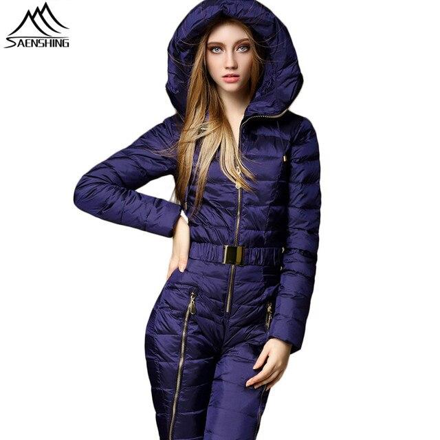 077c719e4d1 SAENSHING Duck Down One Piece Ski Suit Women Mountain Skiing Jumpsuit Super Warm  Winter Set Ski Jacket + Snowboard Pants -30