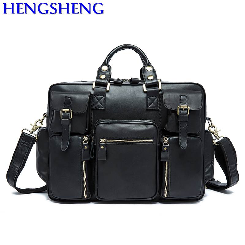 Free Shipping black genuine leather travelling bags of top quality cow leather tavel bags and genuine leather men messengers bag
