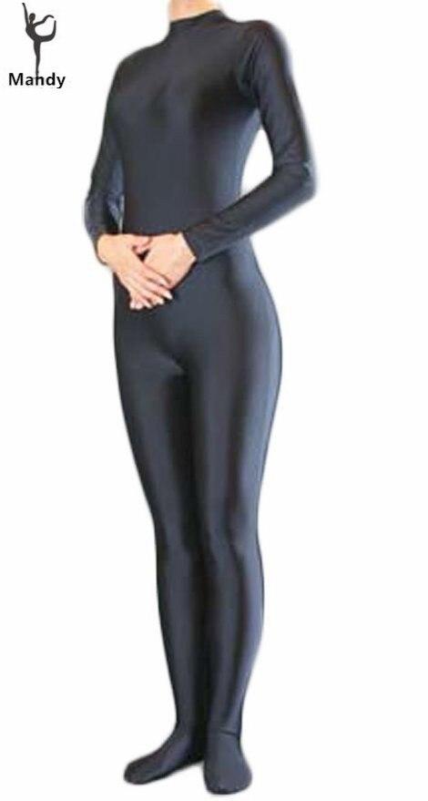One Piece Adult Spandex Lycra Long Sleeve Turtleneck Bodysuit Women's Skin Tight Unitard Mens Black Zentai Dancewear Catsuit