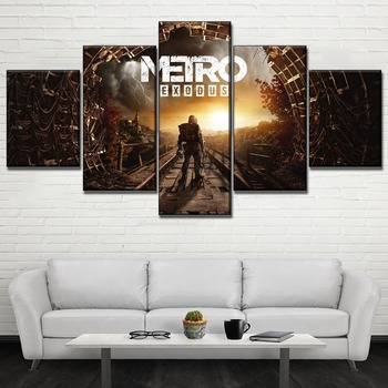 Canvas Printing Type Modular Picture Wall Art 5 Pieces Game Metro Exodus Poster For Modern Living Room Home Decorative