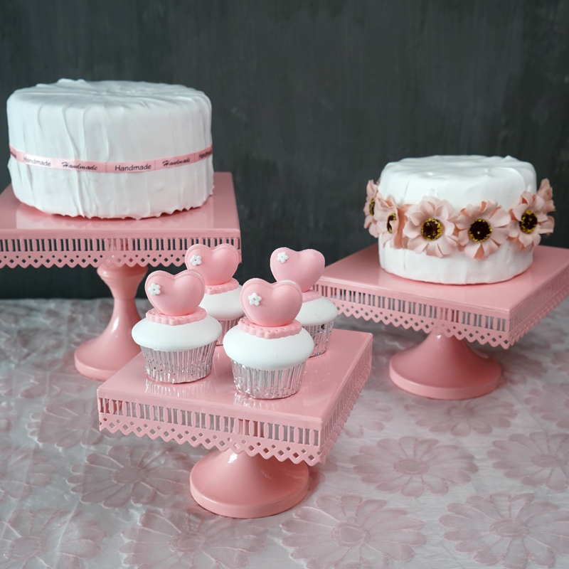 Square Type Cake Stands Pink Princess Birthday Theme Party Topper Wedding Cupcake Stand Dessert Tray Home Supplies