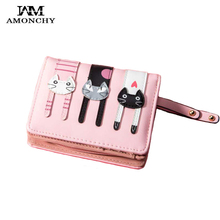 AMONCHY Women Short Wallets Cute Colorful Kitty Female Purse Artificial Leather Cartoon Cats Wallet High Quality Girl Coin Purse 2017 new style cartoon wallet female hello kitty cute clutches high quality pu