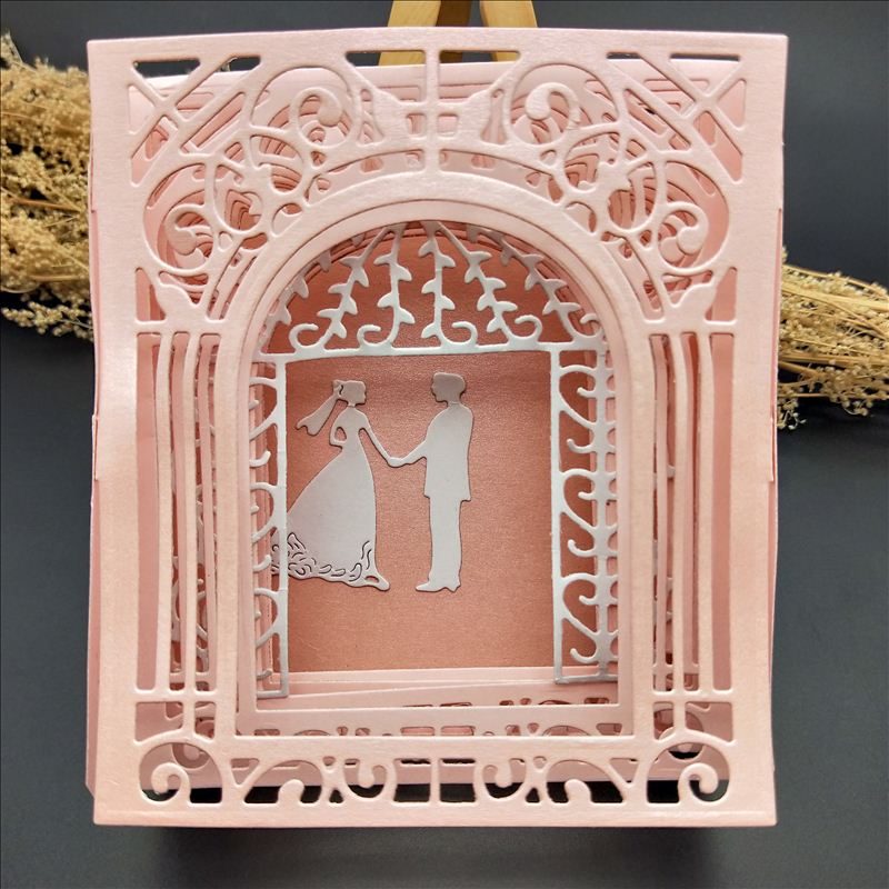 Frame Metal Cutting Dies 3D Greeting Card Frame Door  For DIY Scrapbooking Card Album Photo Decoration Embossing Folder