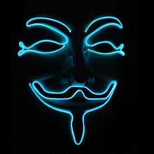 цены Anonymous Mask Vendetta EL Wire Masks Flashing Cosplay anime Led Mask Costume For Carnival Party Glowing Dance Halloween Props