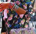 Fashion Stack Bohemian Rainbow Colorful XOXO Samba BOHO Handmade Cotton Fabric Friendship Bracelets Weave Jewelry Bracelet