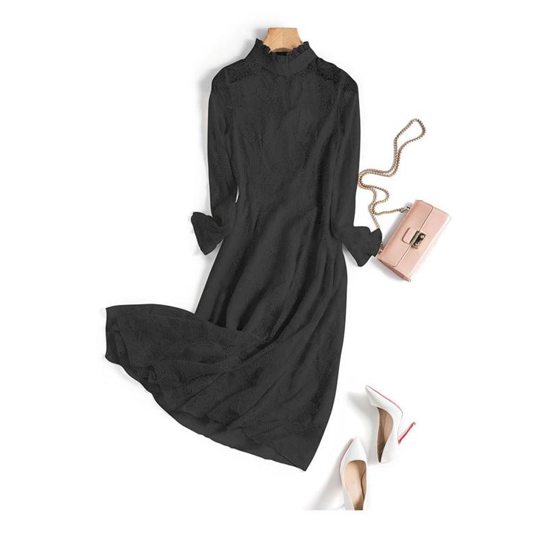 Vestido Manga Elegante 2019 De Encaje cuello Vestidos Verano Larga Mujer Casual negro Sueltos Primavera Beige rosado M17 O xIqICYwt4