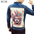 High Quality Denim Jacket Mens Fashion Jeans Jackets Vintage Washed Printing Slim Fit Men Jacket Coat Jeans Clothing
