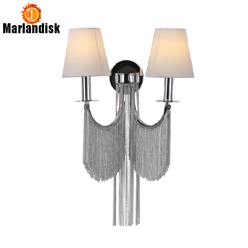 Modern Bedroom Wall Light Aluminum Wall Lamps Silver Black Aluminum Bedside Lamps E27 Individuation Aluminum Chain Wall Lights