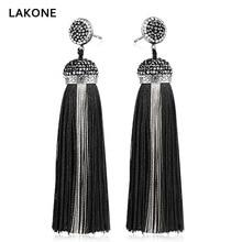 LAKONE Bohemia Crystal Silk Tassel Earrings Handmade High Quality Black Long Drop tassel Dangle Earrings Women Trendy Jewelery