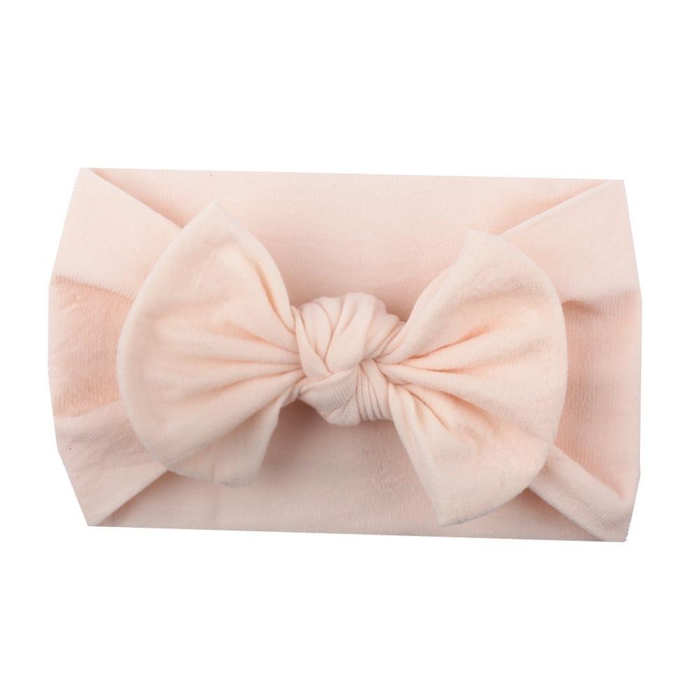 2018 Brand Baby Hairband Soft Cotton Baby Girls Kid Toddler Bow Hairband Headband Turban Big Knot Head-Wrap 21 colors