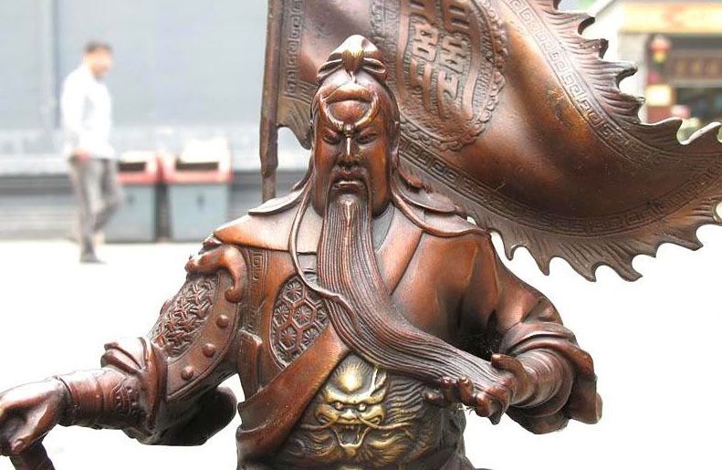 China Red Bronze Sit hill banner Guan Gong Hold Sword Dragon warrior statue free shipping