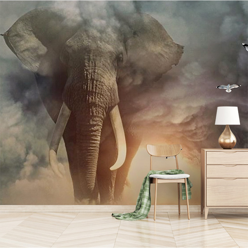 3D Animal Mural Wallpaper Custom Creative Elephant Non-woven Photo Wallpaper Living Room Sofa TV Children's Room Home Decoration