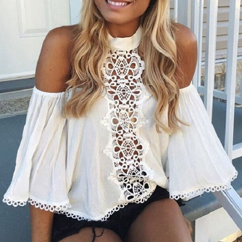 2018 Halter White Lace Women Shirt Summer Off Shoulder Hollow Out Blouse Top Female Elegant Flare Sleeve Blouse
