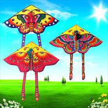 Outdoor kite new 90cm rain silk butterfly triangle children cartoon with 50 meters line.1 random delivery