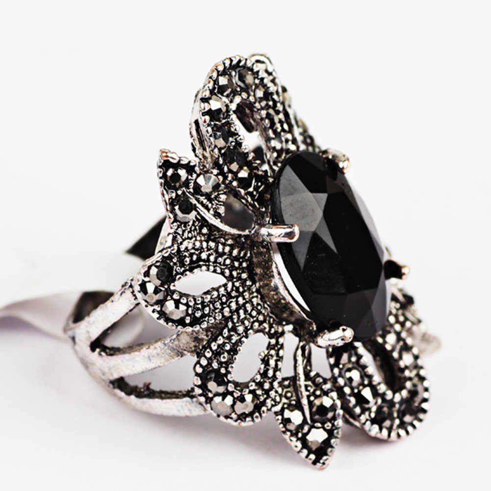 Anillos bohemios Vintage para mujeres Retro Totem flor hueca con piedra negra plata chapada joyería de moda
