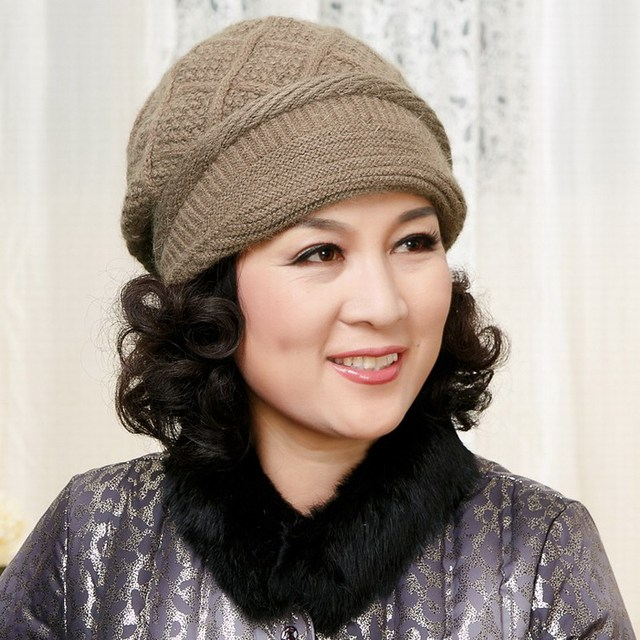 Dupla camada espessamento térmica quinquagenário chapéu chapelaria outono e inverno chapéu de malha chapéu orelha chapéu de pele de coelho presente da mãe