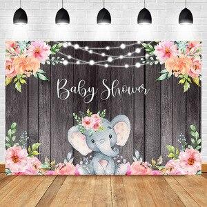 Фон для фотосъемки с изображением слона и ребенка, розовый фон для фотосъемки с изображением слона, гирлянды, деревянные Цветочные Декораци...