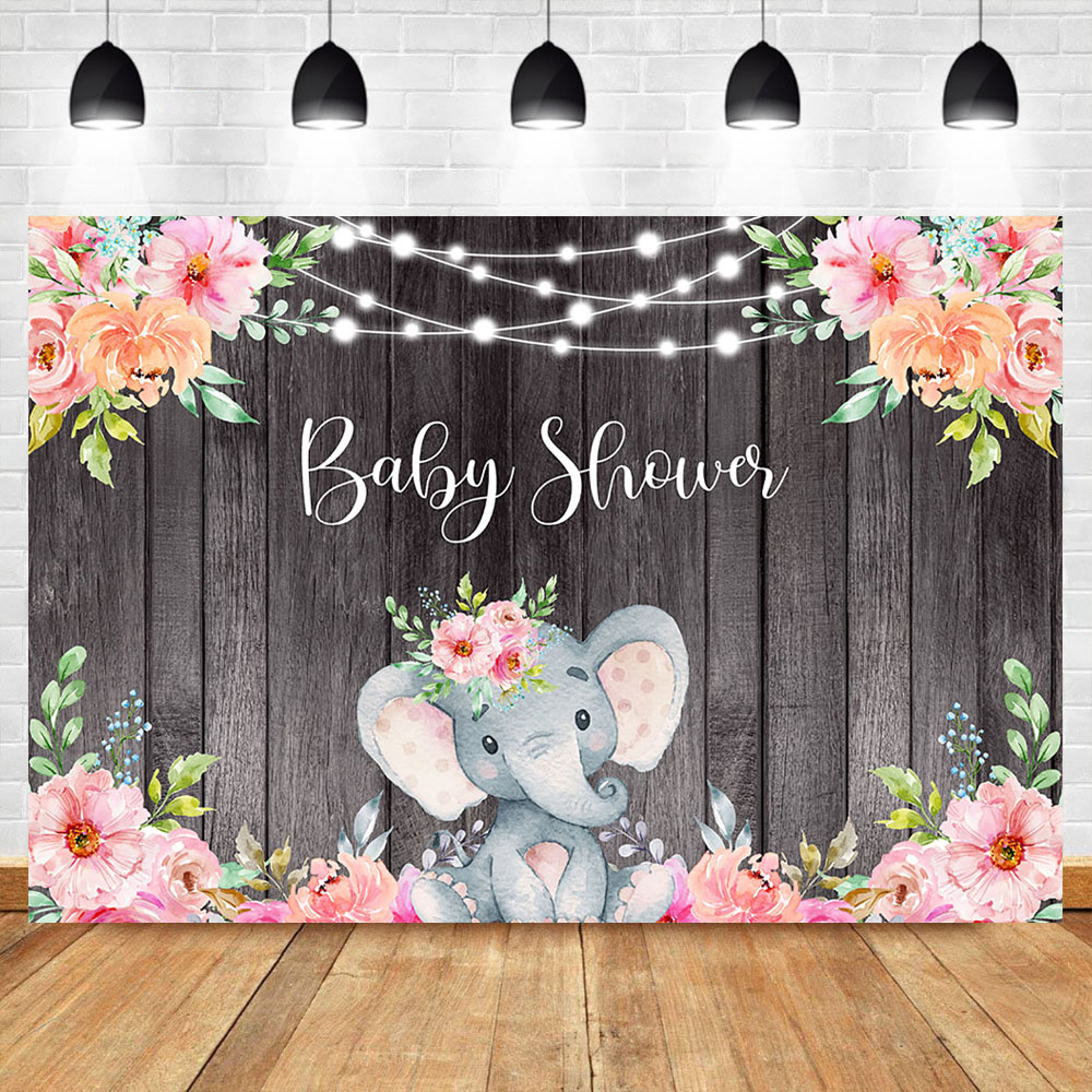Elephant Baby Shower Background Pink Girl Elephant Backdrop String Lights Wooden Floral Girl Birthday Party Banner Backdrops Background Aliexpress