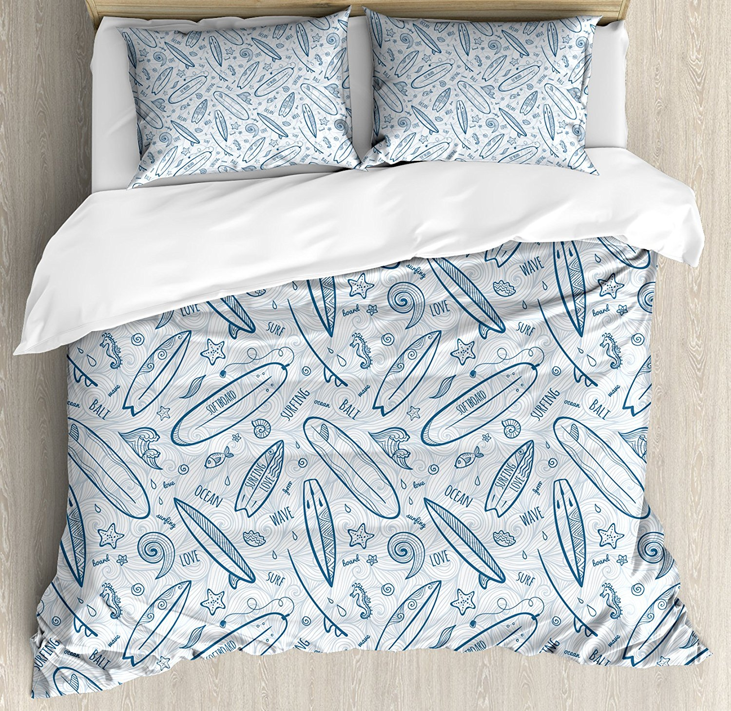 Aliexpress Surfboard Duvet Cover Set Doodle Surfing Boards Waves And Starfishes Hawaiian Summer Decorative 4 Piece Bedding From Reliable