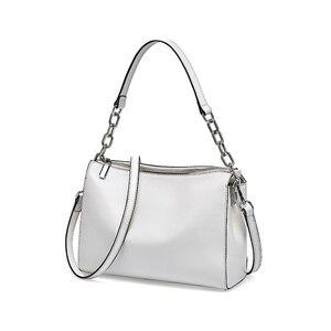 Image 3 - BRIGGS Chain Bag Crossbody Bags For Women Genuine Leather Shoulder Bag Flap Luxury Handbags Women Bags Designer black white