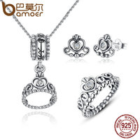 BAMOER 925 Sterling Silver Jewelry Set My Princess Queen Crown CZ Jewelry Sets Wedding Engagement Jewelry