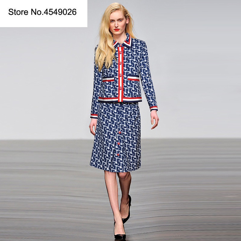 Fashion Printed Women Sets 2 Pieces Set Turn-down Collar Single Breasted Pocket Blouse Zipper Bodycon Dress Elegant Suits K254