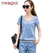 2-piece sets Ladies Denim Suit Fashion Casual Loose V-neck Top+Pants L
