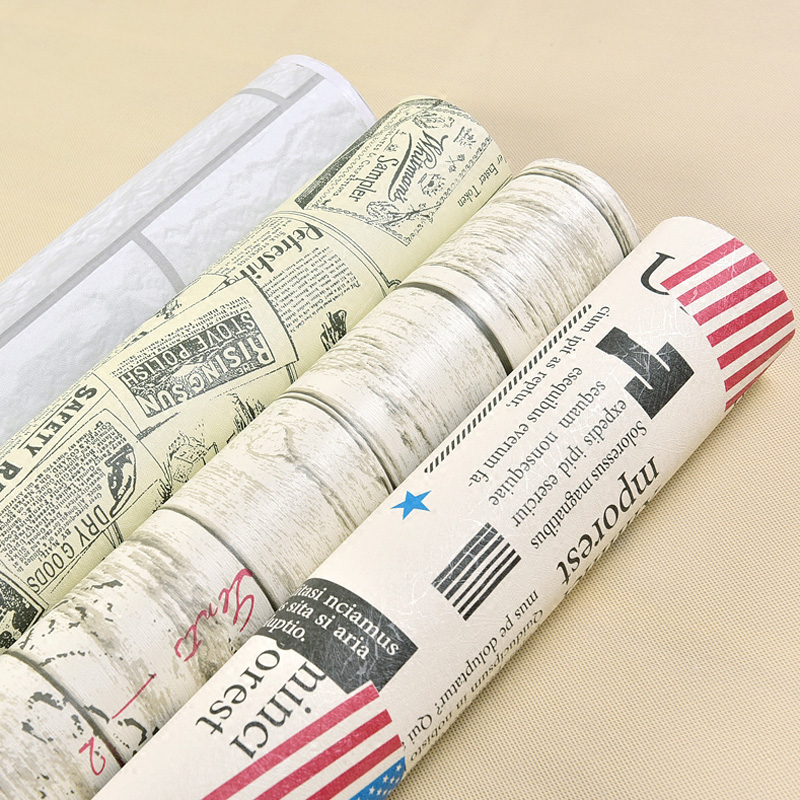 Newspaper nostalgia stickers European bedroom waterproof thickening self - adhesive wallpaper PVC material wallpaper-810
