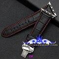 Alta calidad pulsera de apple reloj de bambú plantilla mariposa hebilla pulsera 38/42mm Negro con la línea Roja que contiene vinculador