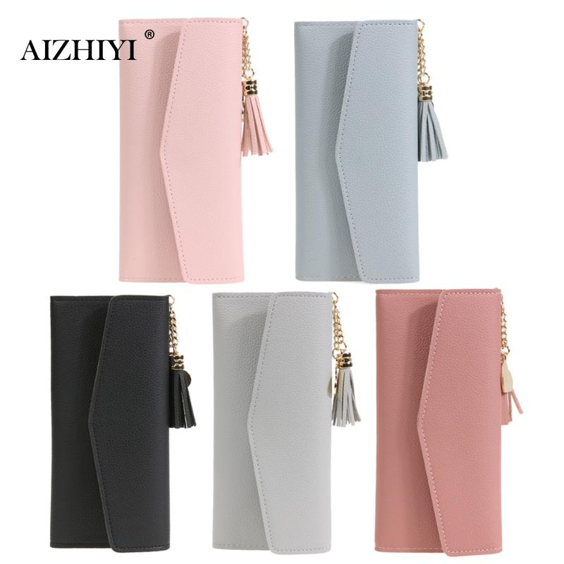 Women Fashion Long Wallet Girls Tassel Clutch Litchi Pattern Female Simple PU Large Capacity Clutch Card Holder Purse Solid solid color litchi pattern wallet style front buckle flip pu leather case with card slots for bq aquaris u2 lite