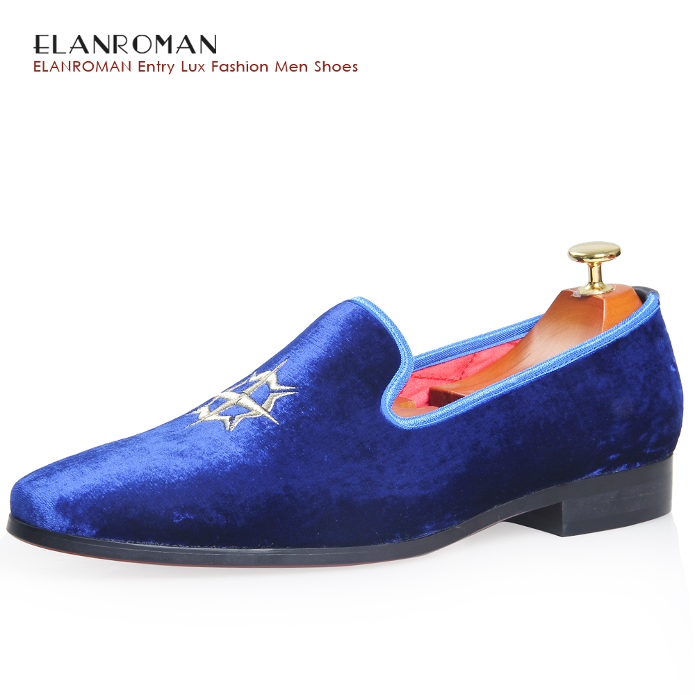 ELANROMAN Handmade Vintage Velvet Loafers Top Fashion British nobility style party and wedding loafers dress shoe men's flats