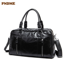 PNDME Mens business genuine leather travel tote first layer shoulder Womens luggage bag