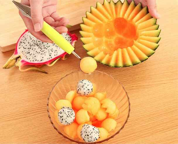 1PC Creative Fruit Carving Knife Watermelon Baller Ice Cream Dig Ball Scoop Spoon Baller Diy Assorted Cold Dishes Tool LF 104