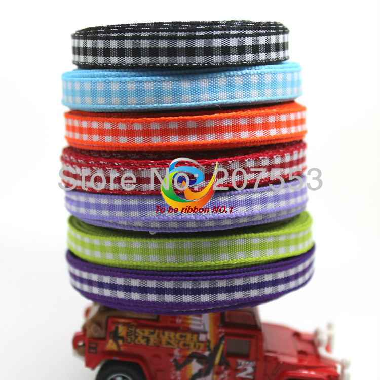 Free shipping 6mm width 1 4 inch woven edge gingham ribbon styles polyester scottish font b
